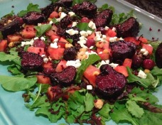 Beetroot, rocket and watermelon salad