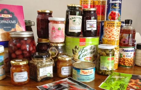 Tins and jars of food